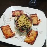 Baked BBQ Tofu with mixed beans and nutritional yeast