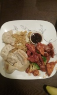 Seasame Tofu w/Broccoli and Veggie Dumplings and a side of Veggie Fried Rice from Corning Class Chinese Restaurant.