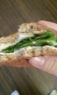 Tofurky sandwich on Wegmans 27-Grain bread, daiya provolone cheeze, and romaine lettuce