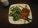 Baked BBQ Tempeh and pinto beans over lightly fried asparagus. Spinach, Arugula, Pea Shoots and Beet Sprouts, and sunflower kernel salad w/ Daiya Ranch Dressing. Glass of Almond Milk.