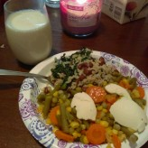 Beans & Rice w/Spinach, mixed veggies w/Melt! brand Vegan butter on top and a glass of Silk Nut Protein Milk.